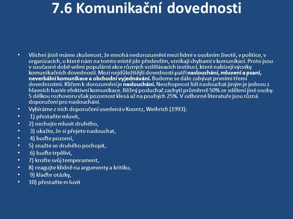 7.6 Komunikační dovednosti