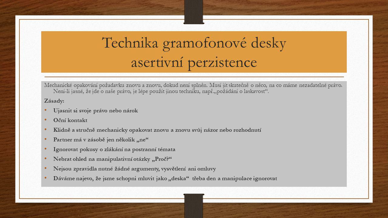 Technika gramofonové desky asertivní perzistence
