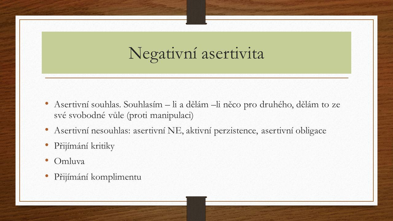 Negativní asertivita Asertivní souhlas. Souhlasím – li a dělám –li něco pro druhého, dělám to ze své svobodné vůle (proti manipulaci)