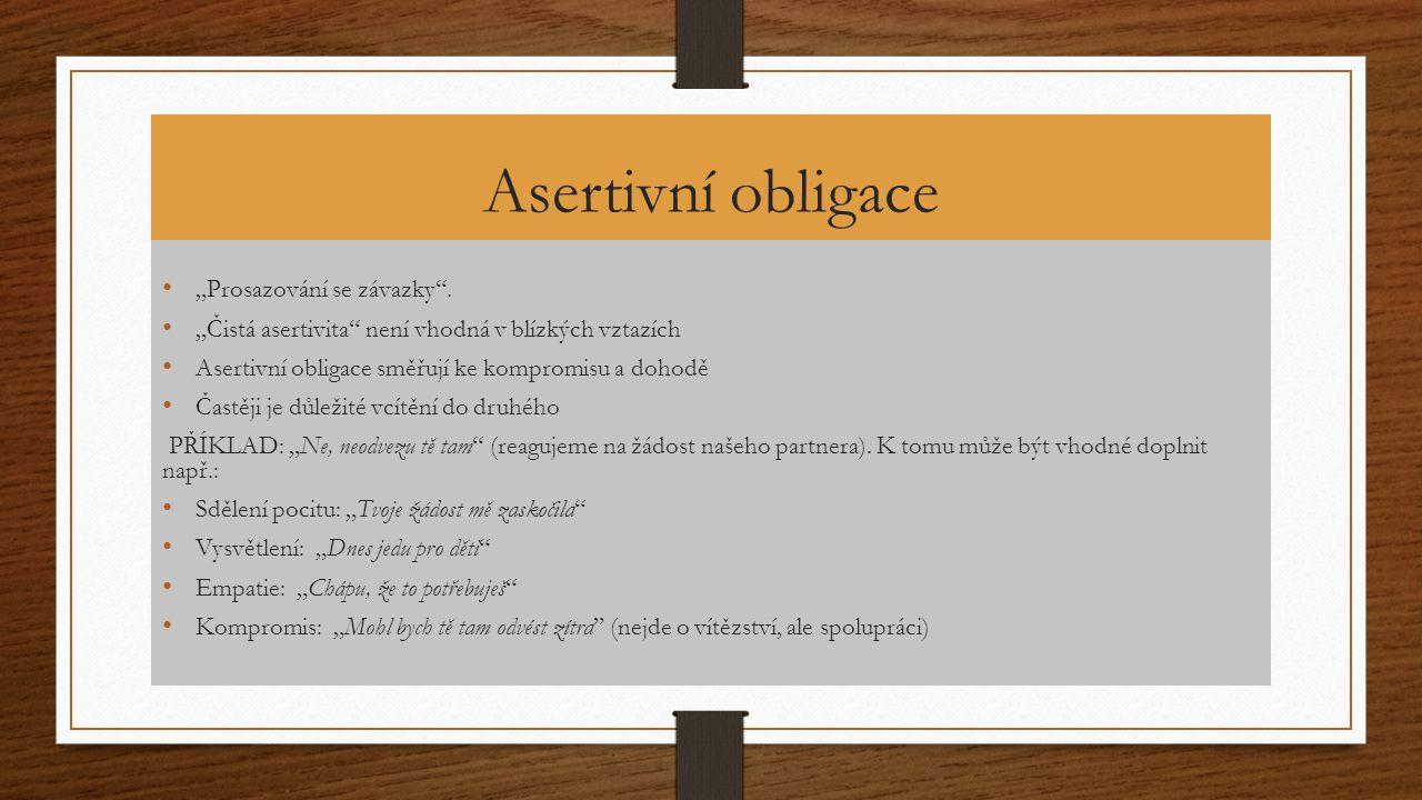 """Asertivní obligace """"Prosazování se závazky ."""