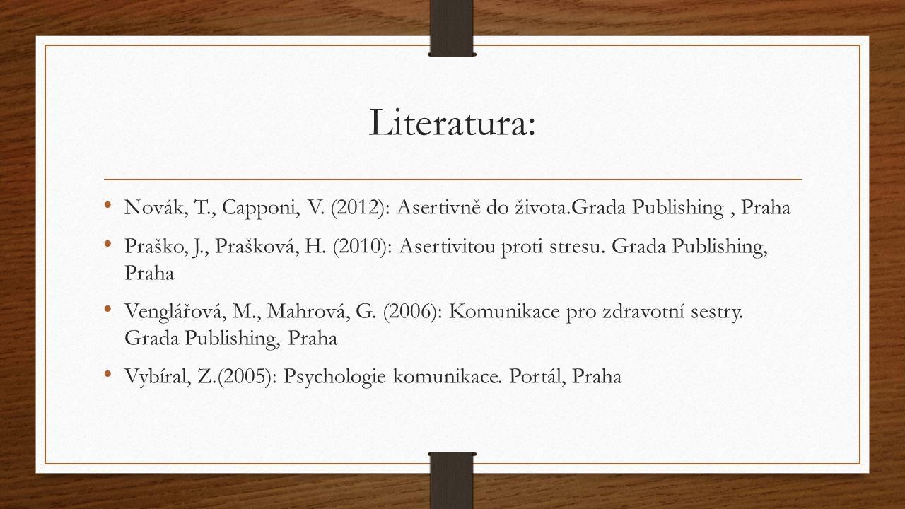 Literatura: Novák, T., Capponi, V. (2012): Asertivně do života.Grada Publishing , Praha.