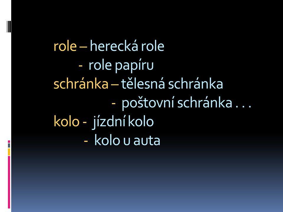 role – herecká role - role papíru schránka – tělesná schránka - poštovní schránka .