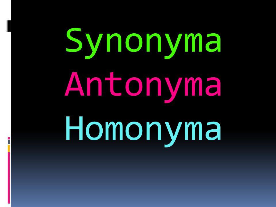 Synonyma Antonyma Homonyma