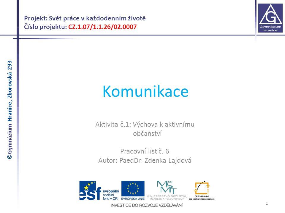 Komunikace Aktivita č.1: Výchova k aktivnímu občanství