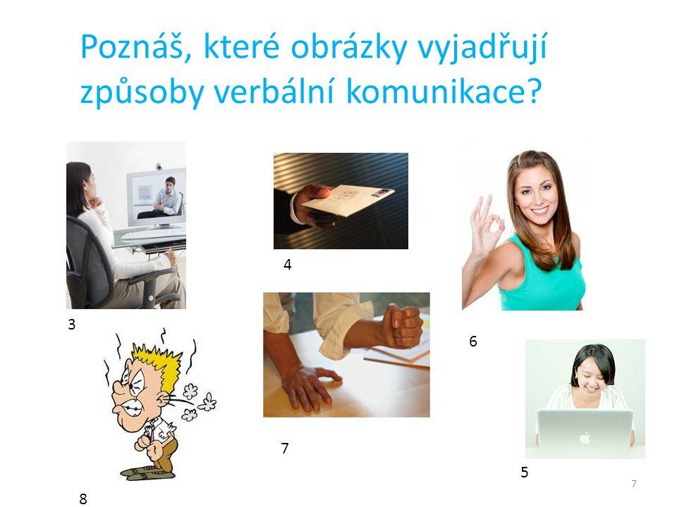 Poznáš, které obrázky vyjadřují způsoby verbální komunikace