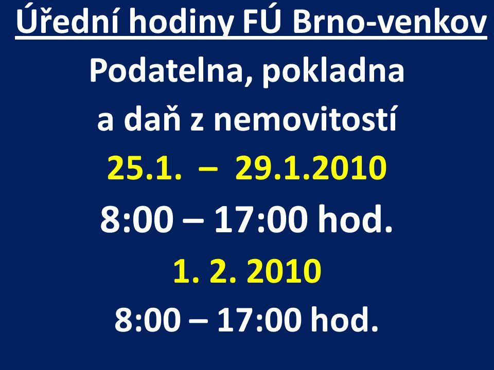 Úřední hodiny FÚ Brno-venkov