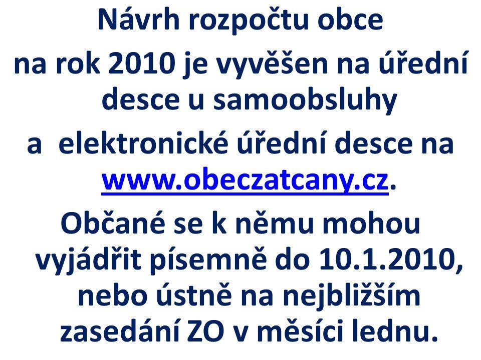 Návrh rozpočtu obce na rok 2010 je vyvěšen na úřední desce u samoobsluhy a elektronické úřední desce na www.obeczatcany.cz.