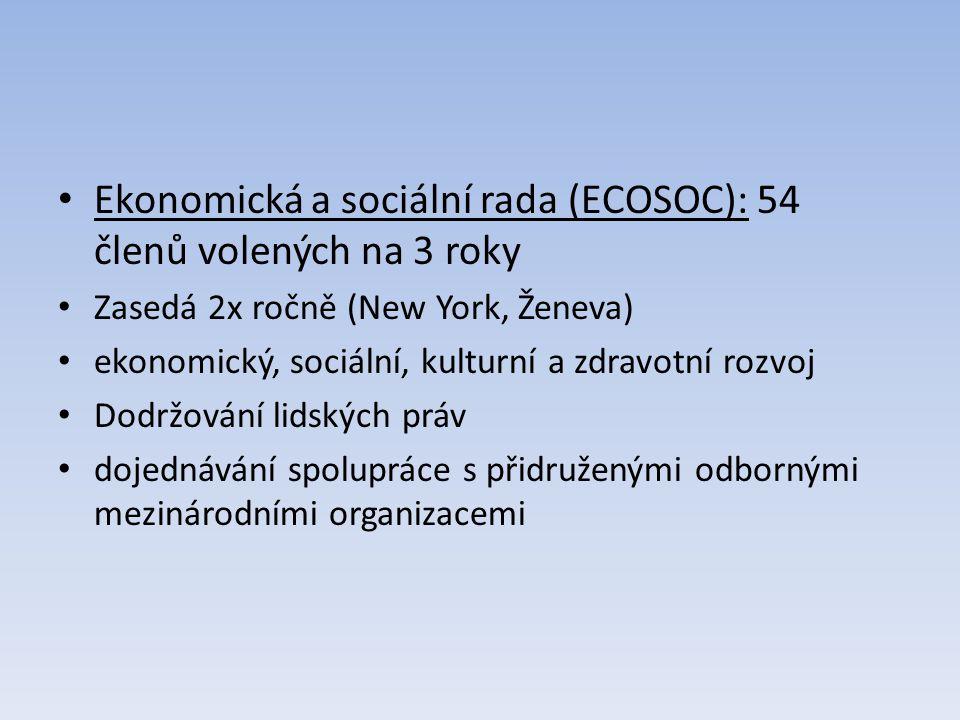 Ekonomická a sociální rada (ECOSOC): 54 členů volených na 3 roky