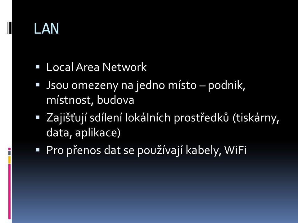 LAN Local Area Network. Jsou omezeny na jedno místo – podnik, místnost, budova. Zajišťují sdílení lokálních prostředků (tiskárny, data, aplikace)