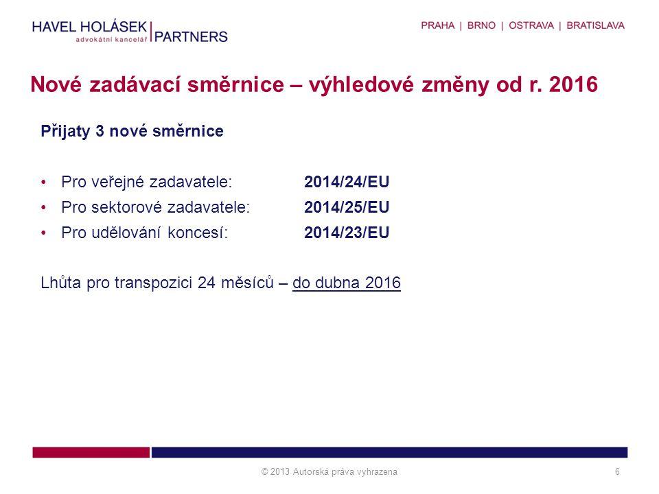 Nové zadávací směrnice – výhledové změny od r. 2016