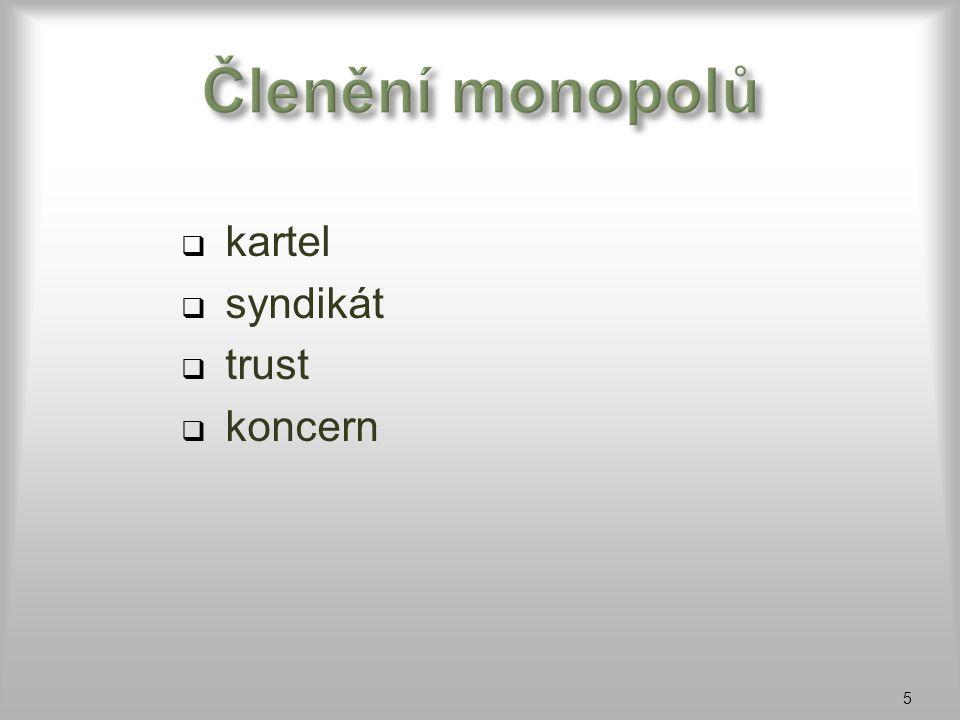 Členění monopolů kartel syndikát trust koncern