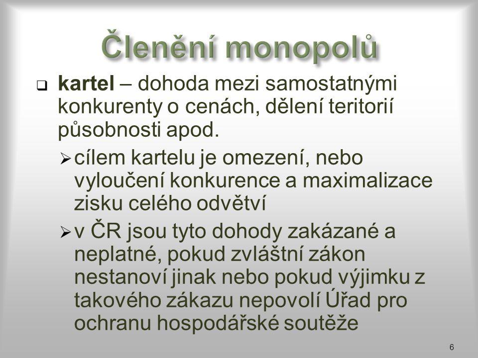 Členění monopolů kartel – dohoda mezi samostatnými konkurenty o cenách, dělení teritorií působnosti apod.