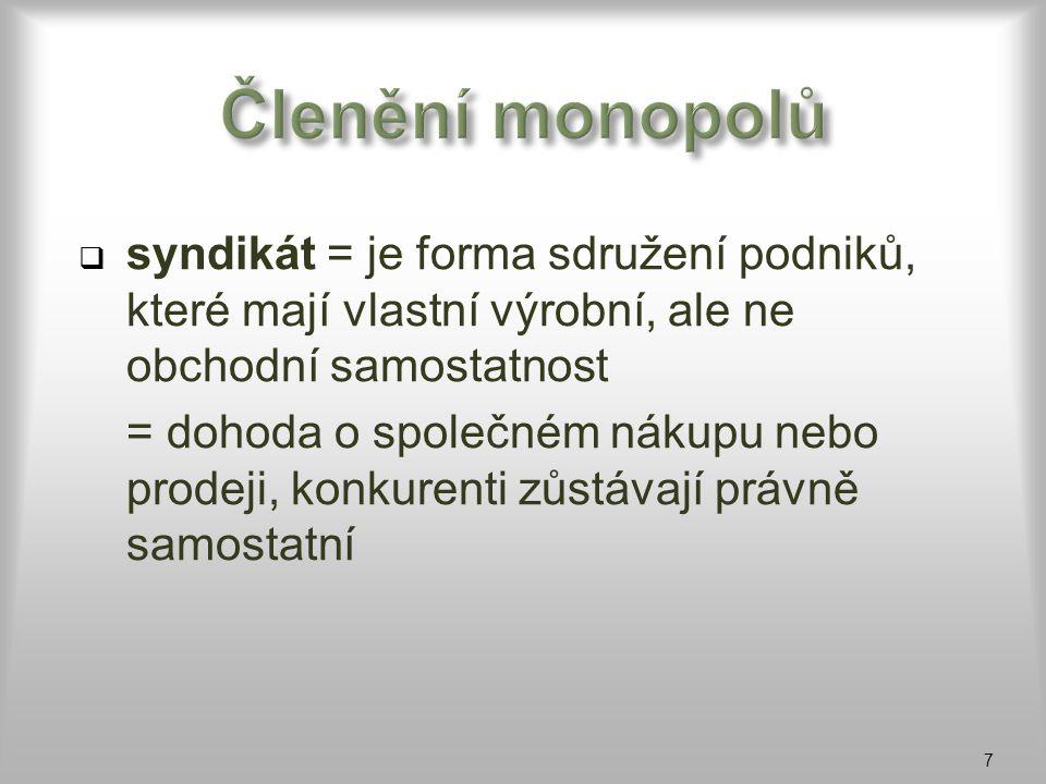 Členění monopolů syndikát = je forma sdružení podniků, které mají vlastní výrobní, ale ne obchodní samostatnost.