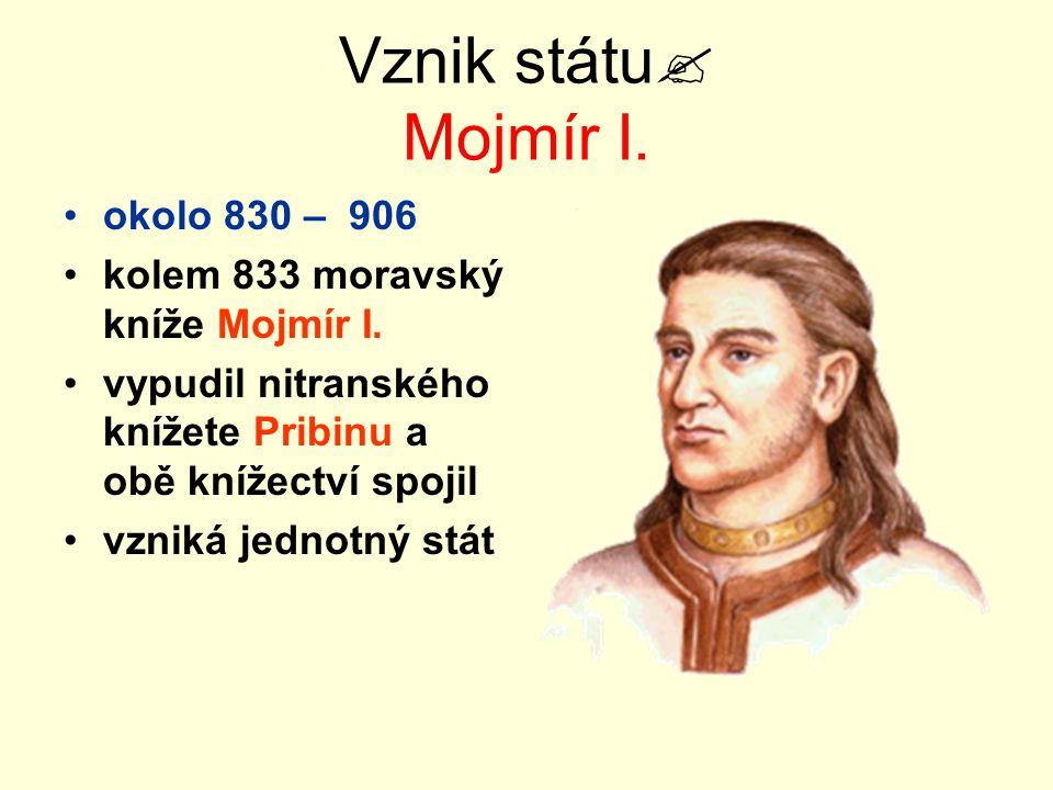 Vznik státu Mojmír I. okolo 830 – 906