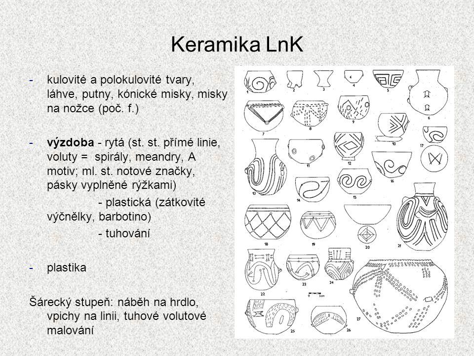 Keramika LnK kulovité a polokulovité tvary, láhve, putny, kónické misky, misky na nožce (poč. f.)
