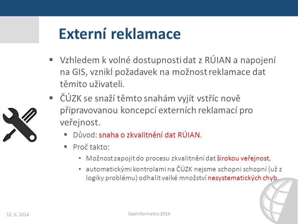 Externí reklamace Vzhledem k volné dostupnosti dat z RÚIAN a napojení na GIS, vznikl požadavek na možnost reklamace dat těmito uživateli.