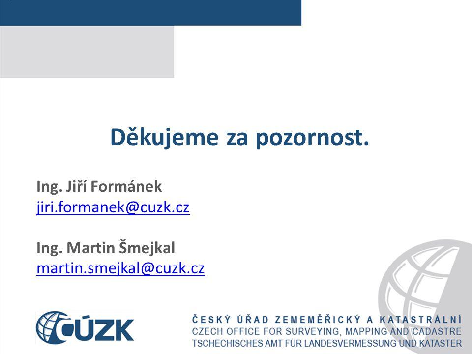 Děkujeme za pozornost. Ing. Jiří Formánek jiri.formanek@cuzk.cz