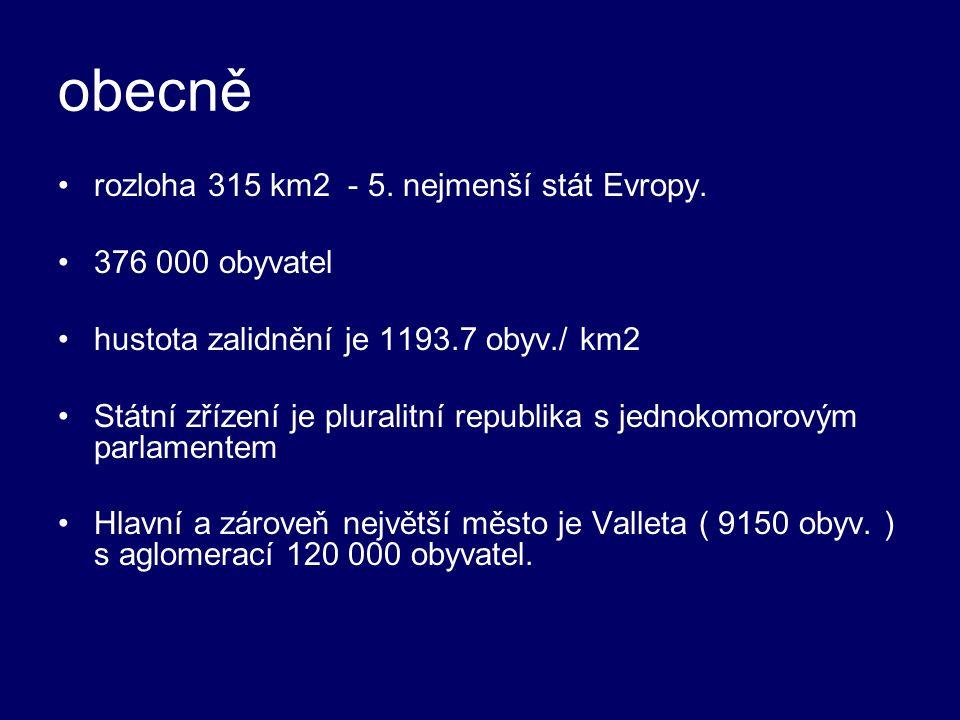 obecně rozloha 315 km2 - 5. nejmenší stát Evropy. 376 000 obyvatel