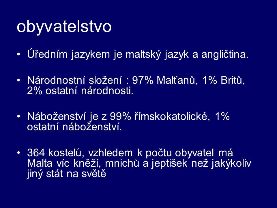 obyvatelstvo Úředním jazykem je maltský jazyk a angličtina.