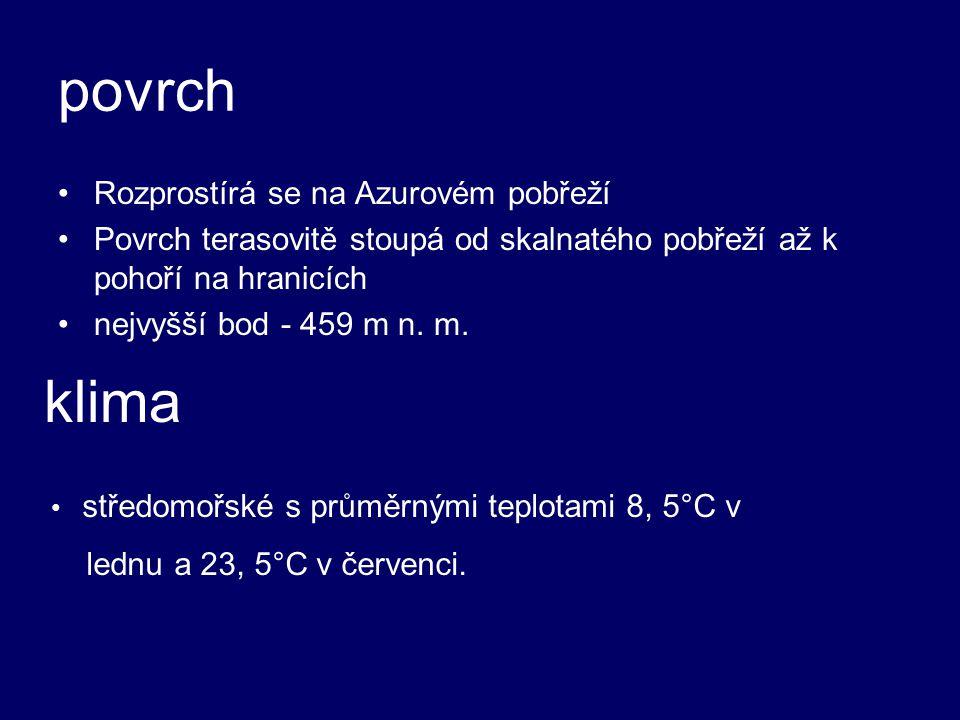 povrch klima Rozprostírá se na Azurovém pobřeží