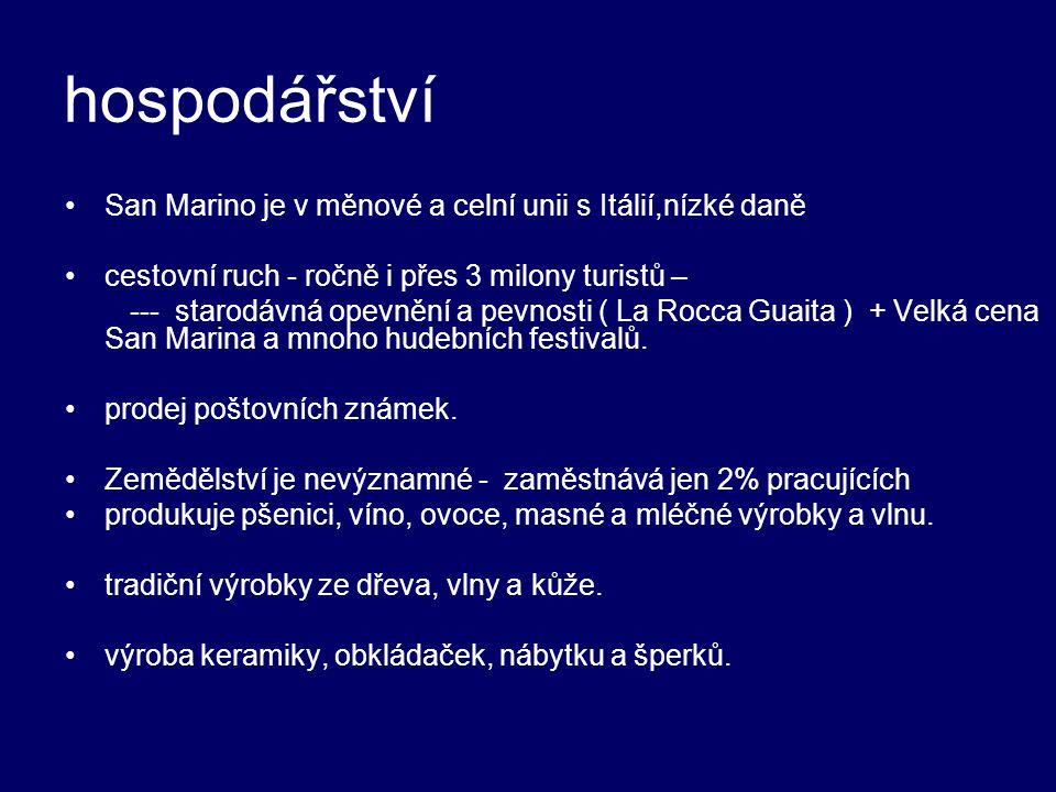 hospodářství San Marino je v měnové a celní unii s Itálií,nízké daně
