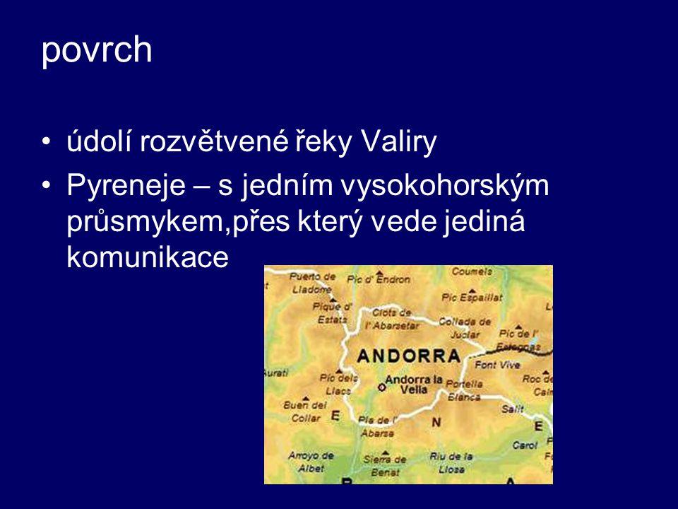 povrch údolí rozvětvené řeky Valiry