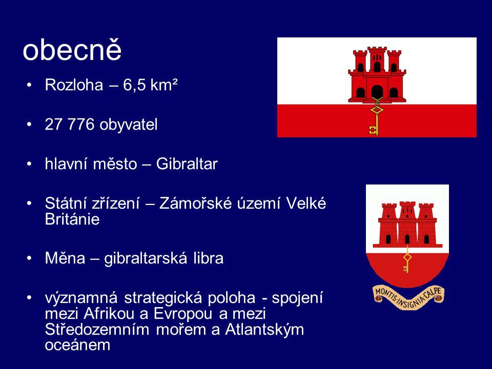 obecně Rozloha – 6,5 km² 27 776 obyvatel hlavní město – Gibraltar