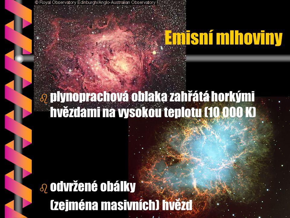 Emisní mlhoviny plynoprachová oblaka zahřátá horkými hvězdami na vysokou teplotu (10 000 K) odvržené obálky.