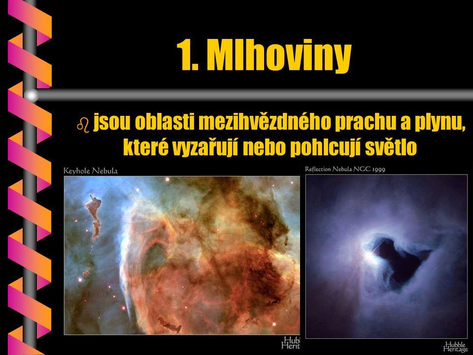 1. Mlhoviny jsou oblasti mezihvězdného prachu a plynu, které vyzařují nebo pohlcují světlo
