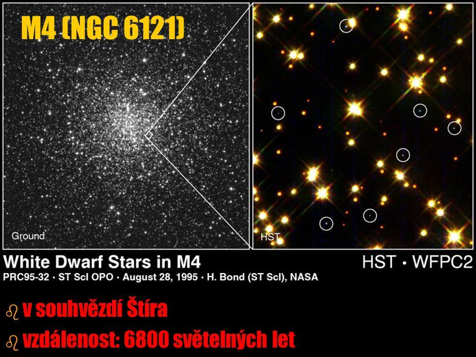 M4 (NGC 6121) v souhvězdí Štíra vzdálenost: 6800 světelných let
