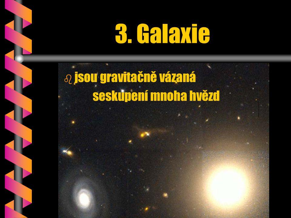 3. Galaxie jsou gravitačně vázaná seskupení mnoha hvězd