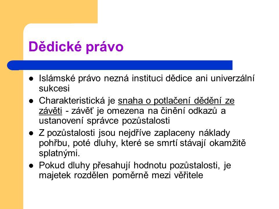 Dědické právo Islámské právo nezná instituci dědice ani univerzální sukcesi.