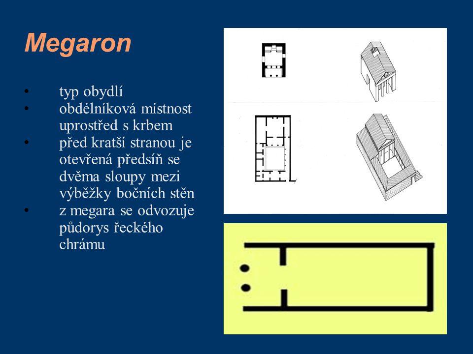 Megaron typ obydlí obdélníková místnost uprostřed s krbem