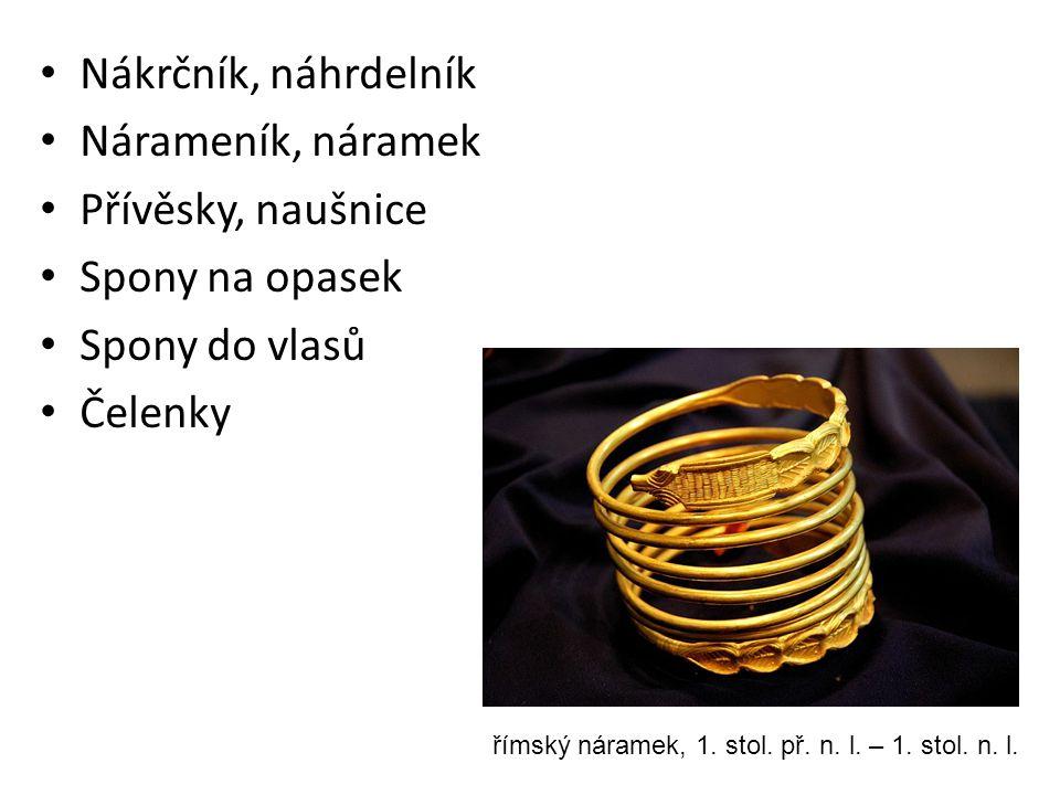 Nákrčník, náhrdelník Nárameník, náramek Přívěsky, naušnice