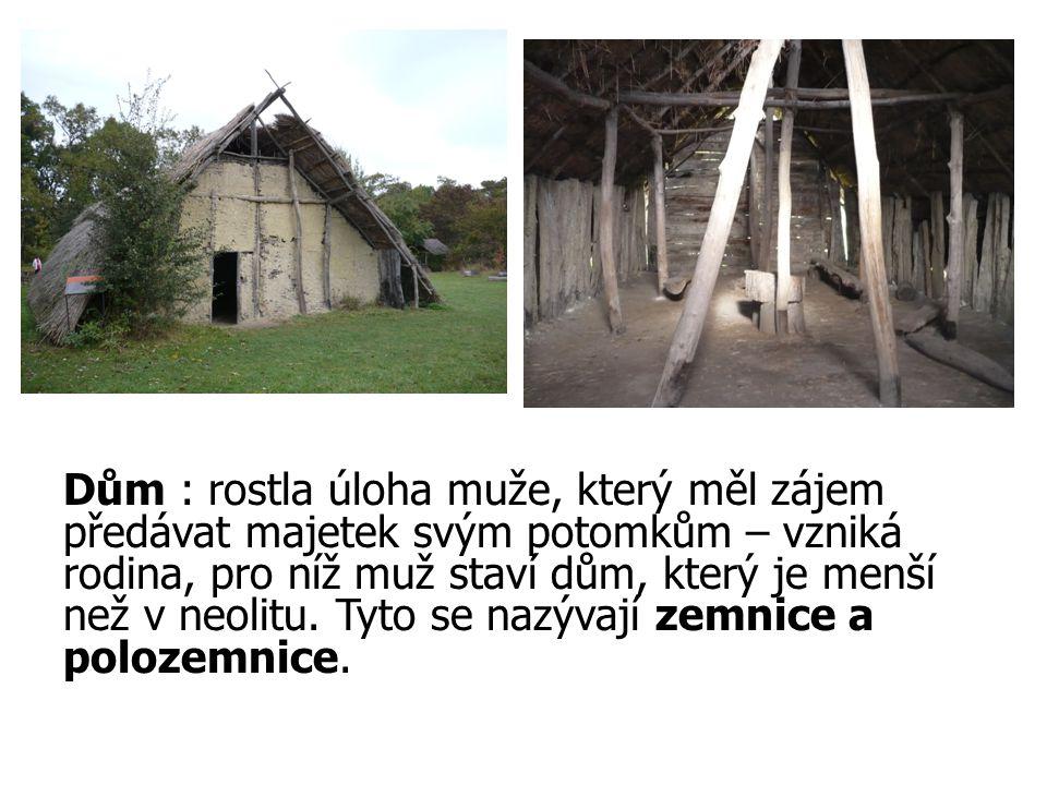 Dům : rostla úloha muže, který měl zájem předávat majetek svým potomkům – vzniká rodina, pro níž muž staví dům, který je menší než v neolitu.