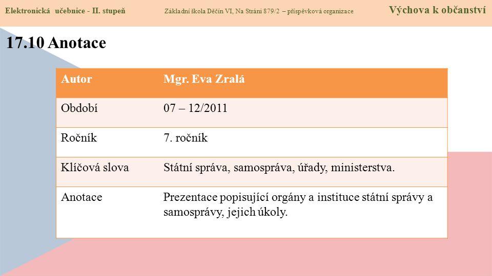 17.10 Anotace Autor Mgr. Eva Zralá Období 07 – 12/2011 Ročník