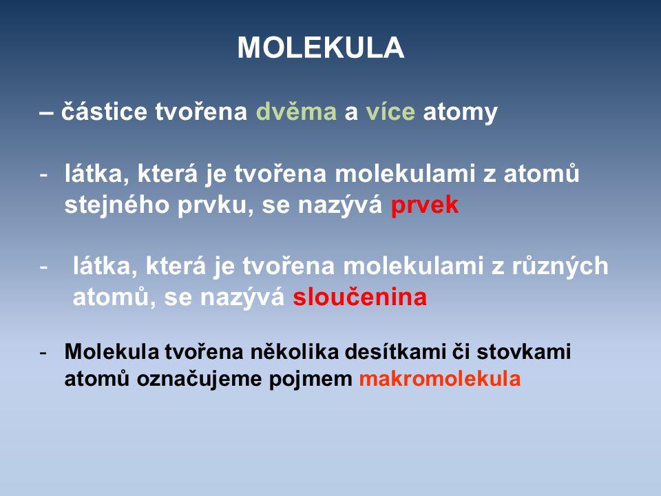 MOLEKULA – částice tvořena dvěma a více atomy