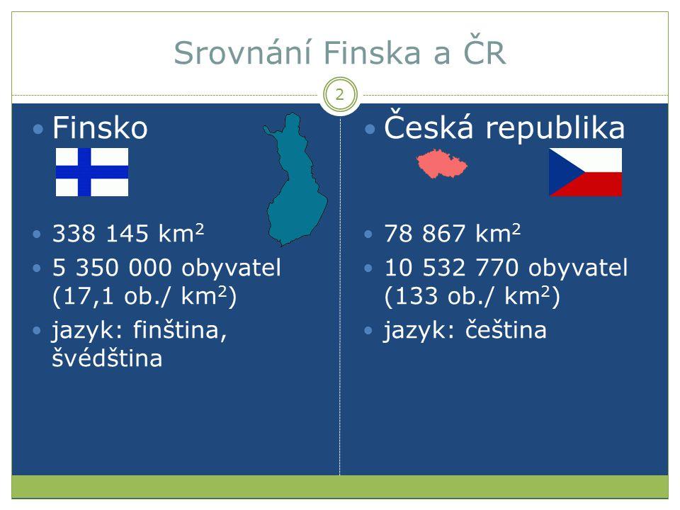 Srovnání Finska a ČR Finsko Česká republika 338 145 km2