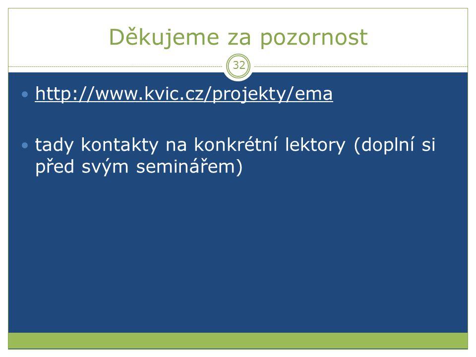 Děkujeme za pozornost http://www.kvic.cz/projekty/ema