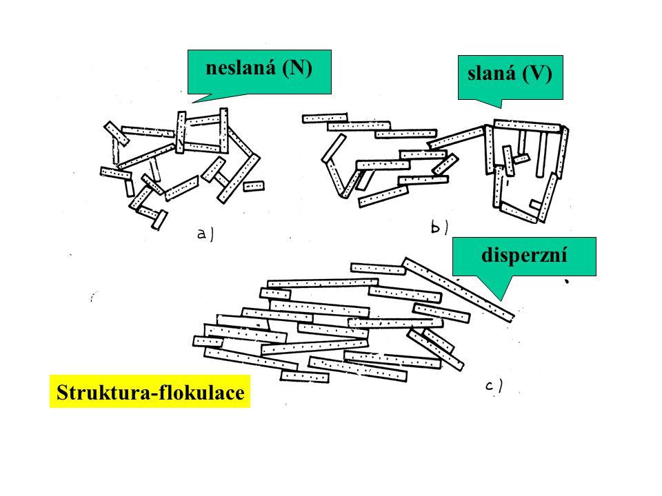 neslaná (N) slaná (V) disperzní Struktura-flokulace