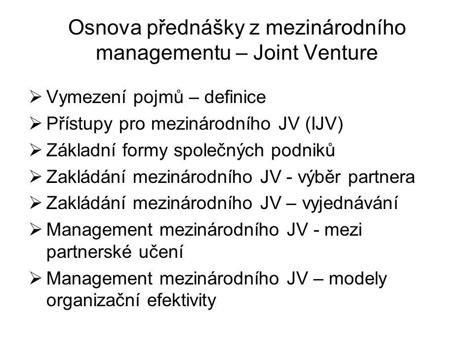 Osnova přednášky z mezinárodního managementu – Joint Venture