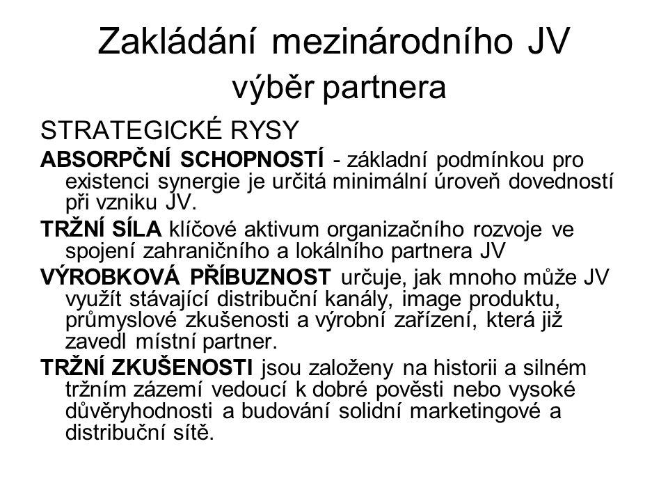 Zakládání mezinárodního JV výběr partnera