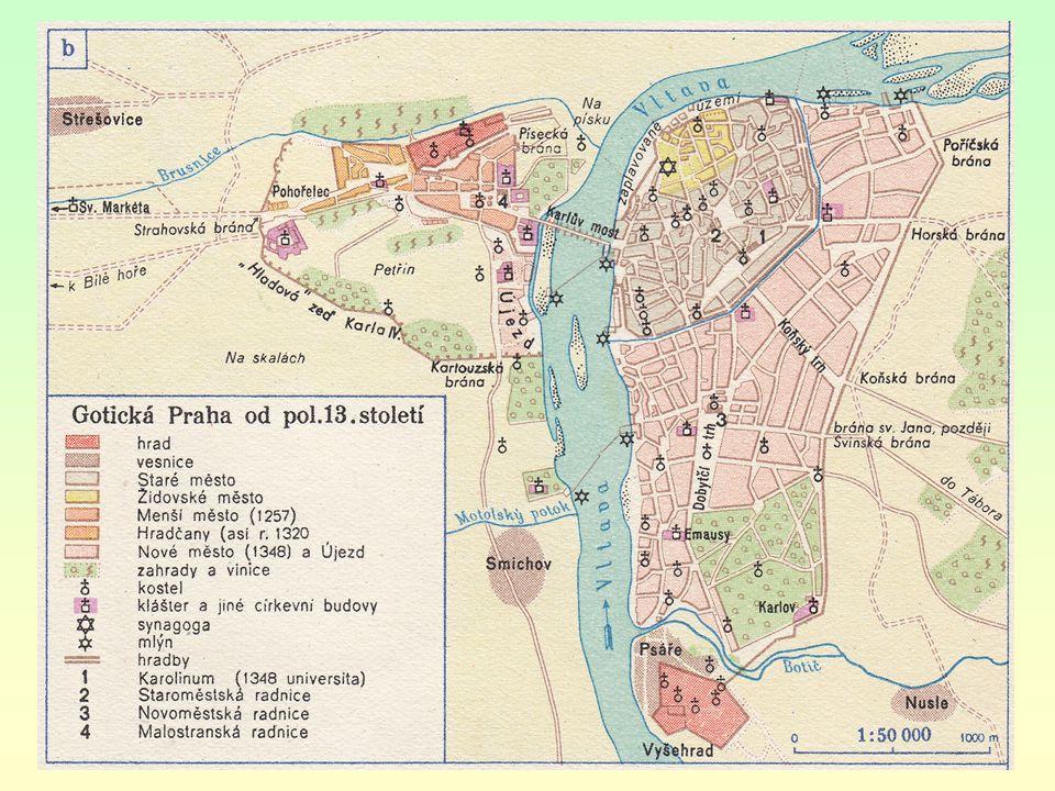 do 13. st. u nás živelný vznik měst, bez plánu (Staré Město pražské) - klikatící se úzké uličky