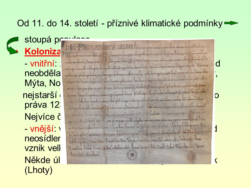 Od 11. do 14. století - příznivé klimatické podmínky