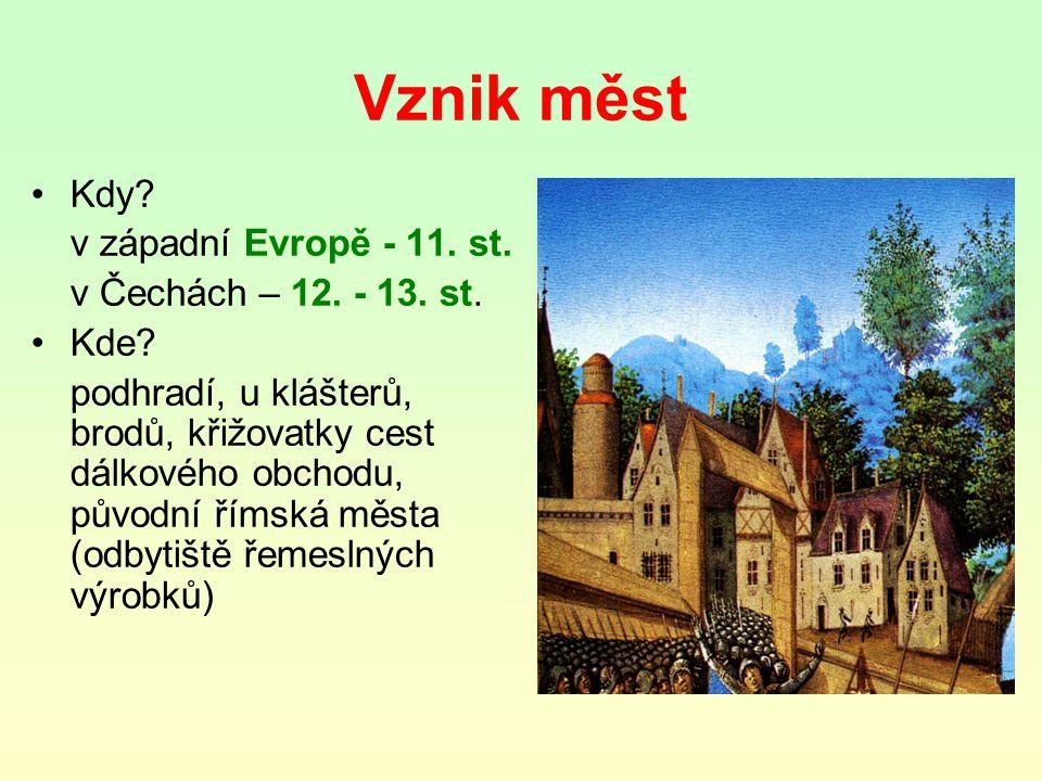Vznik měst Kdy v západní Evropě - 11. st. v Čechách – 12. - 13. st.