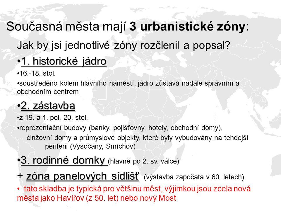 Současná města mají 3 urbanistické zóny: