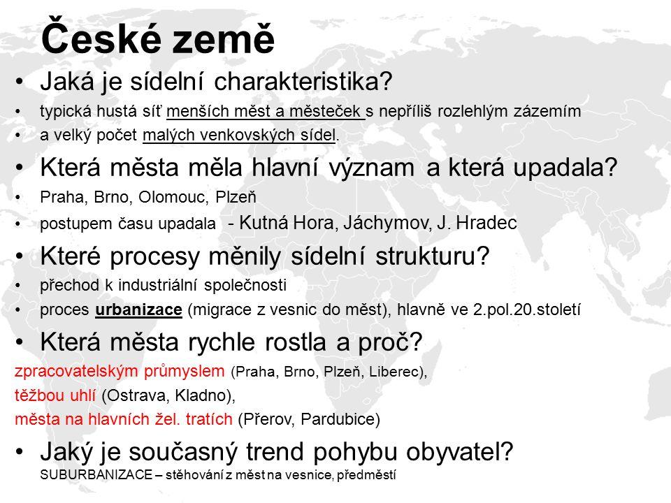 České země Jaká je sídelní charakteristika