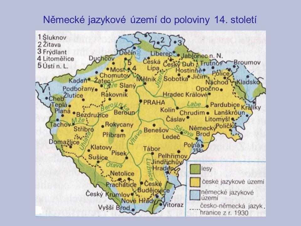 Německé jazykové území do poloviny 14. století
