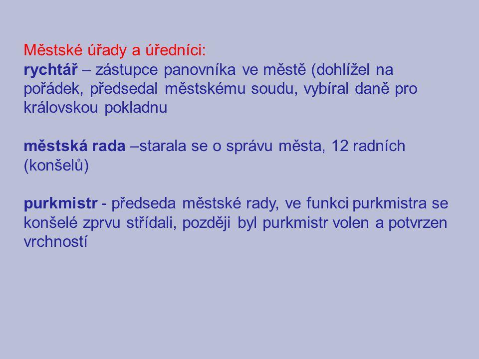 Městské úřady a úředníci: