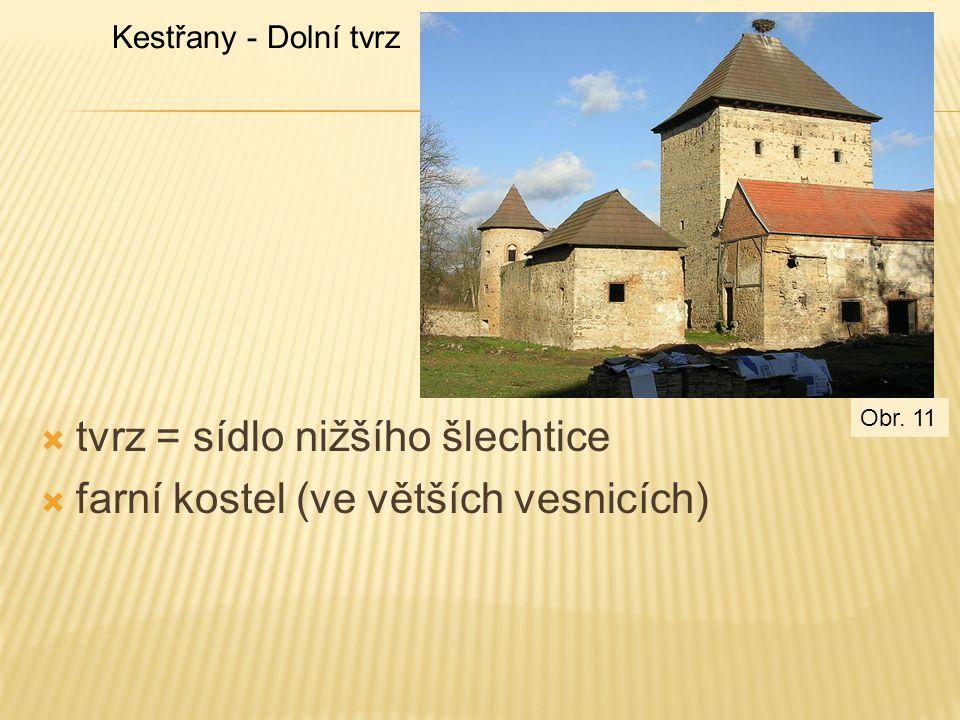 tvrz = sídlo nižšího šlechtice farní kostel (ve větších vesnicích)